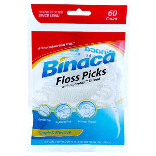 Binaca Floss Picks 60 count packaging